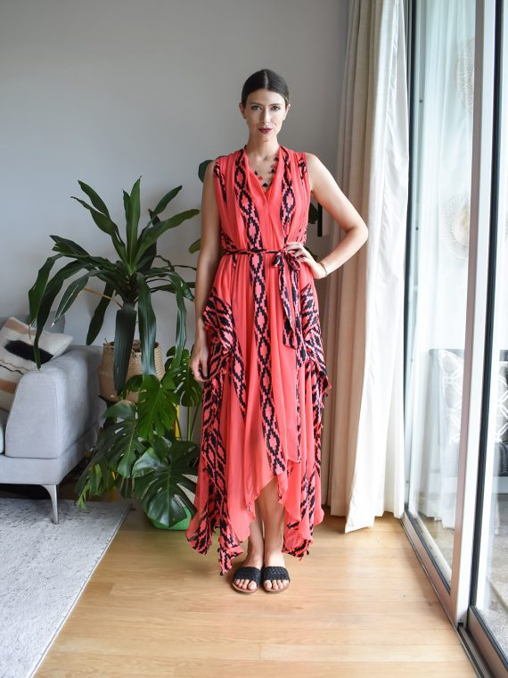 Simone Irani – Dana, Sari Scarf Dress_ Coral and Black 1