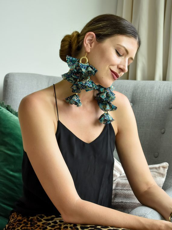 Simone Irani – Eva, Sari Tassel Earrings_ Blue Floral Printed