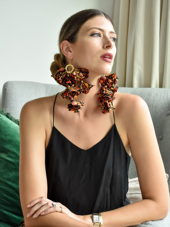 Simone Irani – Eva, Sari Tassel Earrings_ Red and Black Lace