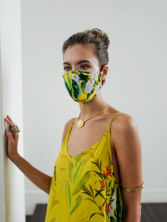 Simone Irani, Face Mask in Birds of Paradise in Yellow