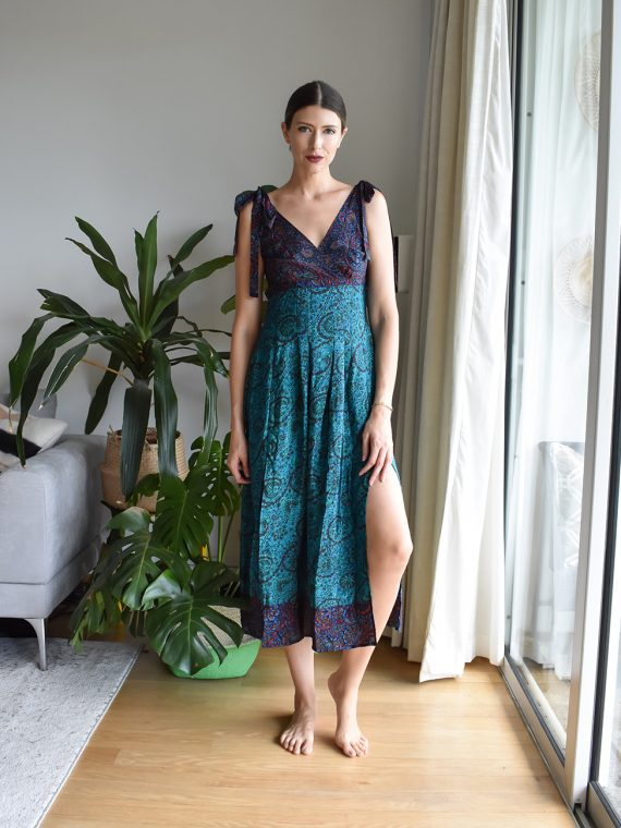 Simone Irani – Ida, Sari Pleated Dress_ Two Blue Printed 1