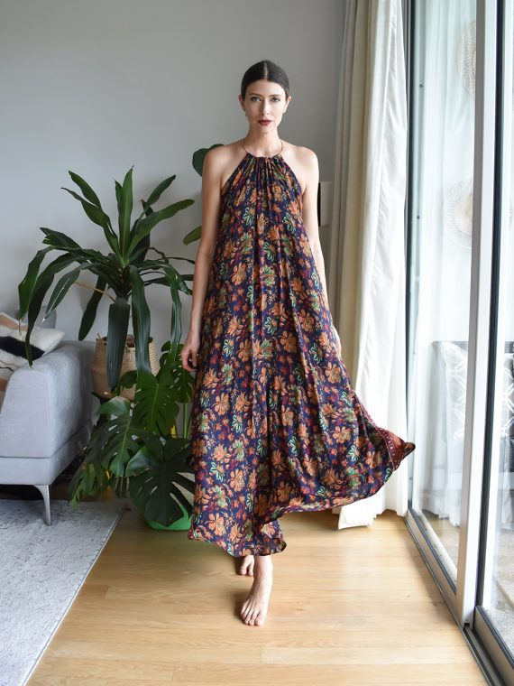 Simone Irani – Martina Maxi, Ring Sari Halter Dress_ Blue Floral Printed 1