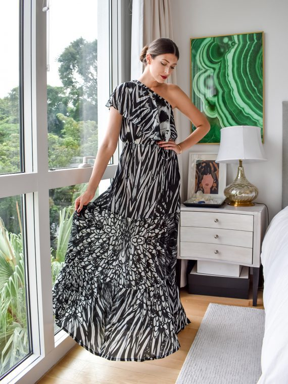 Simone Irani – Regina, One Shoulder Maxi Dress_ Black and White Feather 1