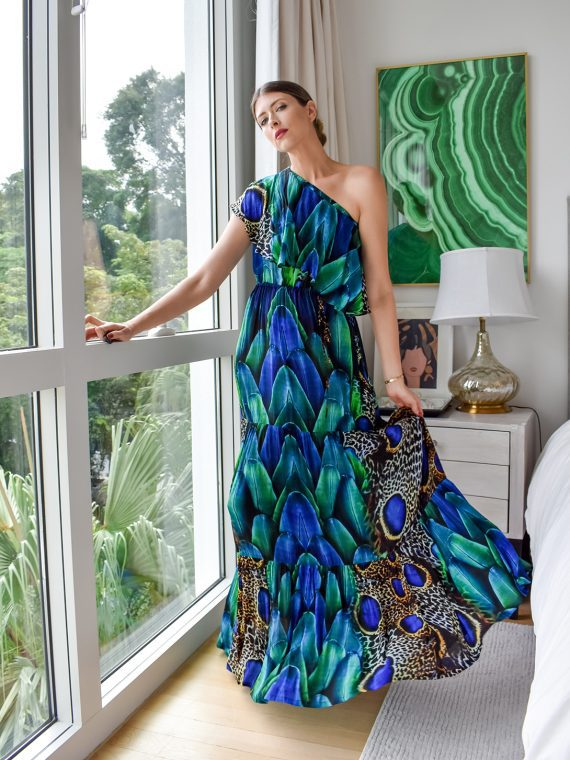Simone Irani – Regina, One Shoulder Maxi Dress_ Peacock Feather 1