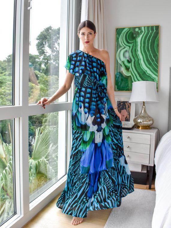 Simone Irani – Regina, One Shoulder Maxi Dress_ Turquoise Blue Feather 1