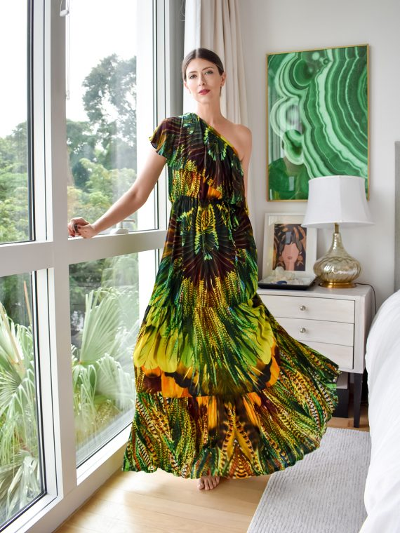 Simone Irani – Regina, One Shoulder Maxi Dress_ Yellow Green Feather 1