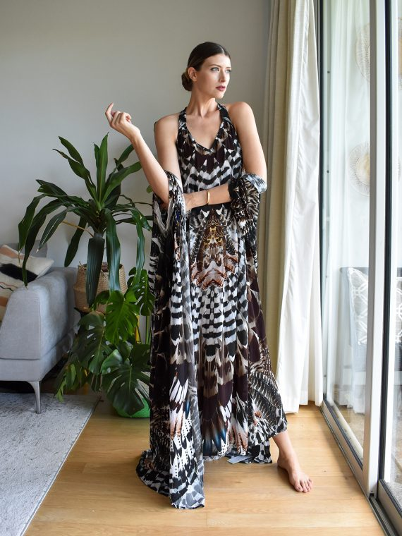 Simone Irani – Ring Tia, Maxi Dress_ Owl Feather 1