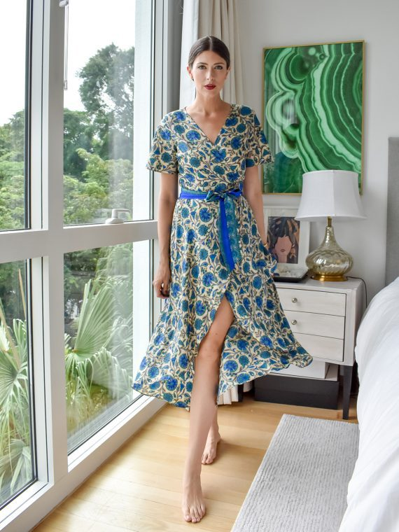 Simone Irani – Roma, Sari Wrap Dress_ Blue Floral Print 1
