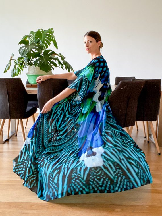 Simone Irani – Sahana, Long Kimono_ Turquoise Blue Feather 1