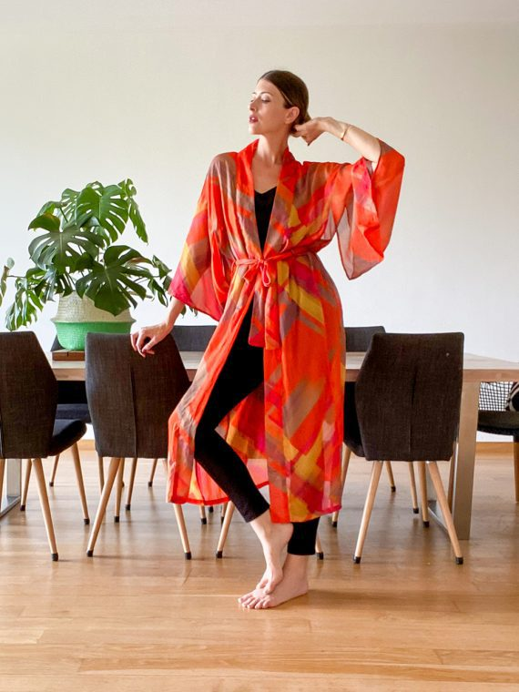 Simone Irani – Tamara, Sari Long Kimono_ Multi Colour Orange 1