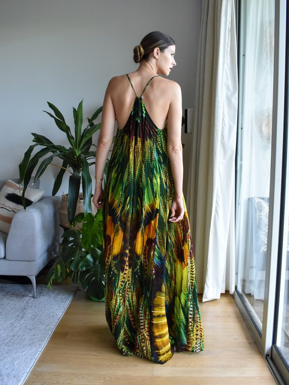 Simone Irani – Tia, T-Back Maxi Dress_ Yellow Green Feather 2