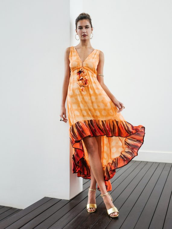 Simone Irani – Mila, Sari HighLow Dress_ Apricot with Polka Dots 1