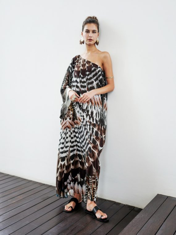 Simone Irani – Nala, One Shoulder Long Kaftan Dress_ Owl Feather 1