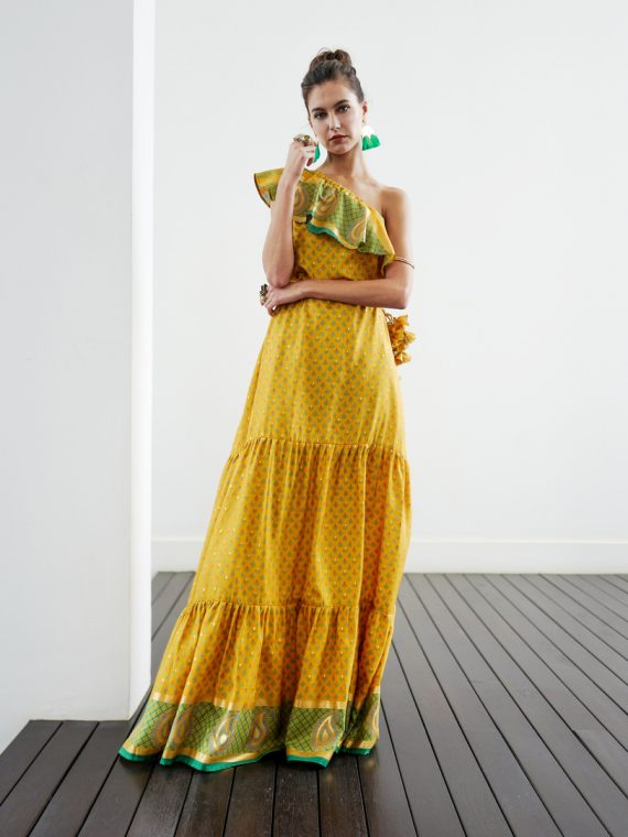 Simone Irani – Regina, Sari One Shoulder Maxi Dress_ Canary Gold Green 1