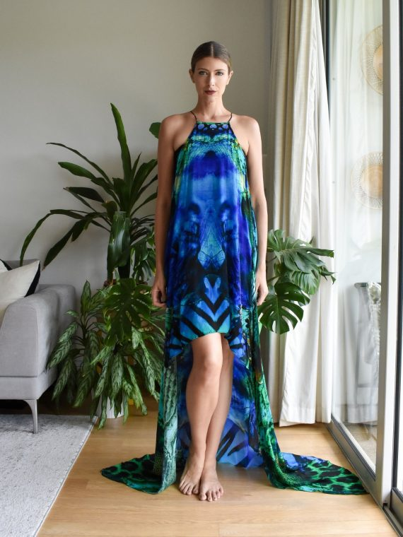 Simone Irani – Ava, Mini Dress with Long Overlay Blue Green Leopard 1