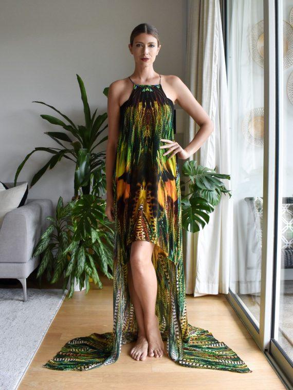 Simone Irani – Ava, Mini Dress with Long Overlay Yellow Green Feather 1