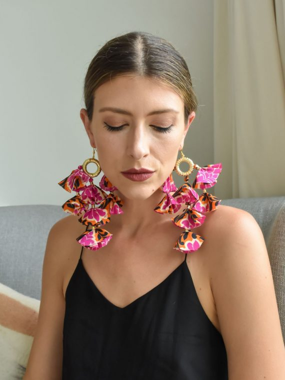 Simone Irani – Eva, Sari Tassel Earrings Pink and Orange Printed