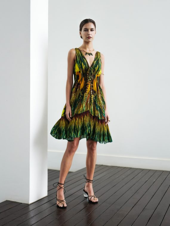 Simone Irani – Lulu, Flared Hem Mini Dress Yellow Green Feather 1