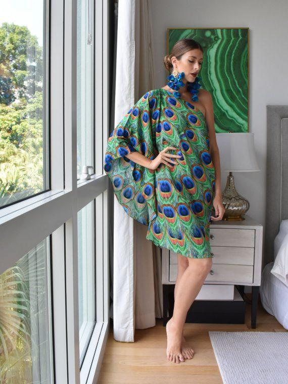 Simone Irani – Mia, One Shoulder Kaftan Mini Dress Peacock 1.