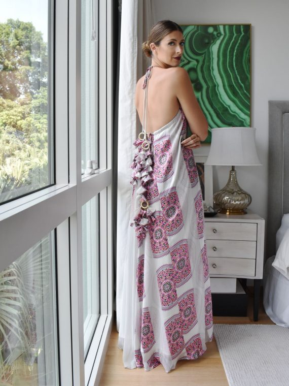 Simone Irani – Natalie, Sari Halter Neck Maxi Dress White with Pink Print 1