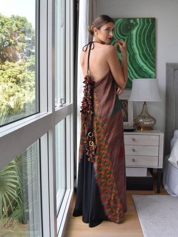 Simone Irani – Nikita, Sari Halter Neck Maxi Dress Diamond Earth Tones Printed 1