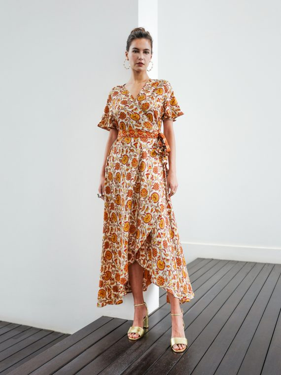 Simone Irani – Roma, Sari Wrap Dress Floral Printed 1