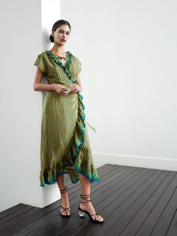 Simone Irani – Romana, Sari Midi Wrap Dress Olive and Forest Green 1