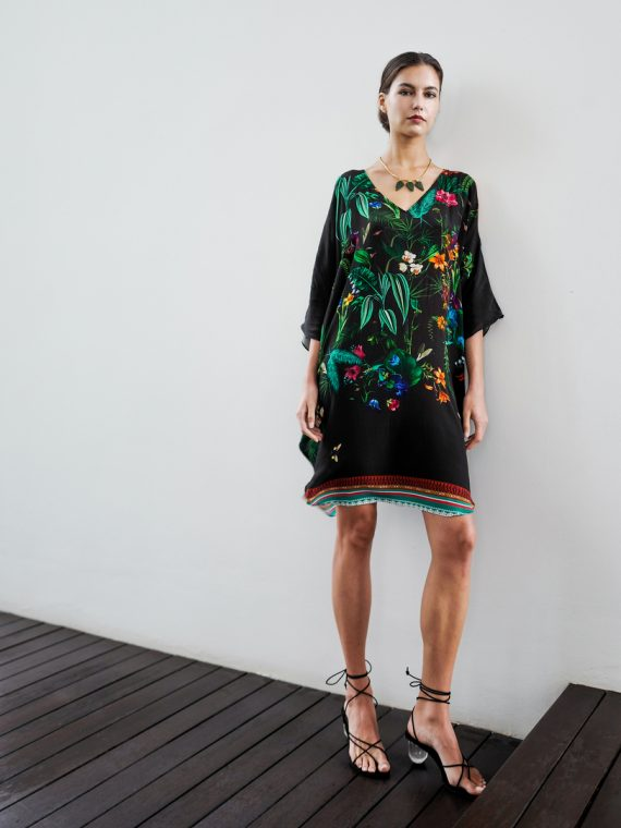 Simone Irani – Samara, Cold Shoulder Kaftan Dress Black Floral Print 1