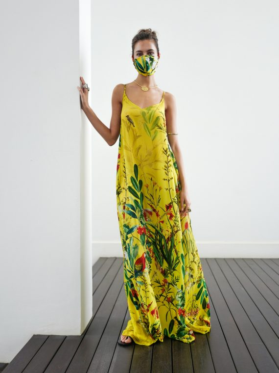 Simone Irani – Tia, T-Back Maxi Dress Birds of Paradise Yellow 1