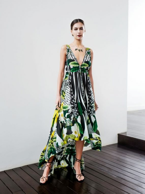 Simone Irani – Mila, High-Low Dress_ Yellow Floral Feather 1