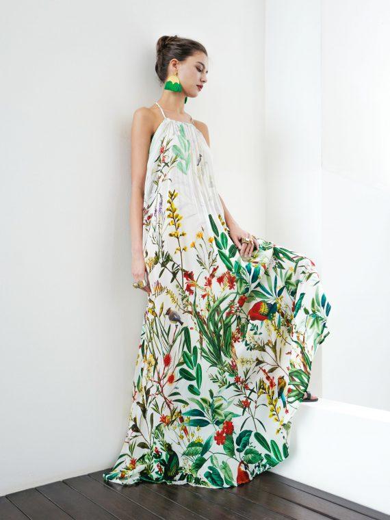 Simone Irani – Nikita, Halter Neck Maxi Dress_ Birds of Paradise White 1