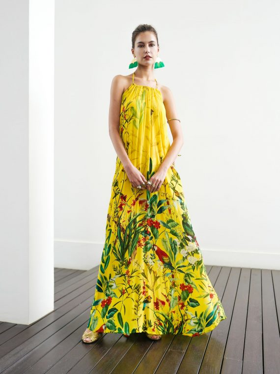 Simone Irani – Nikita, Halter Neck Maxi Dress_ Birds of Paradise Yellow 1