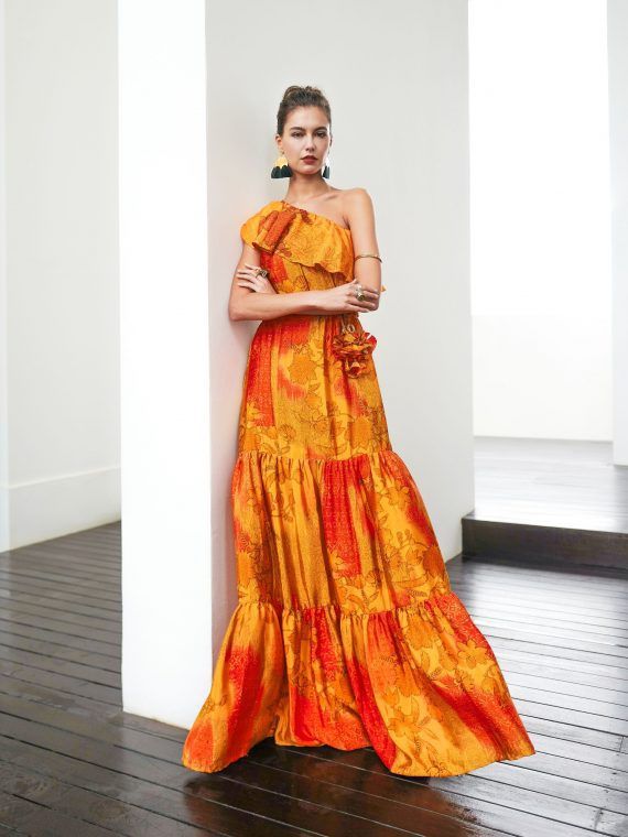 Simone Irani – Regina, Sari One Shoulder Maxi Dress_ Fire Tones 1