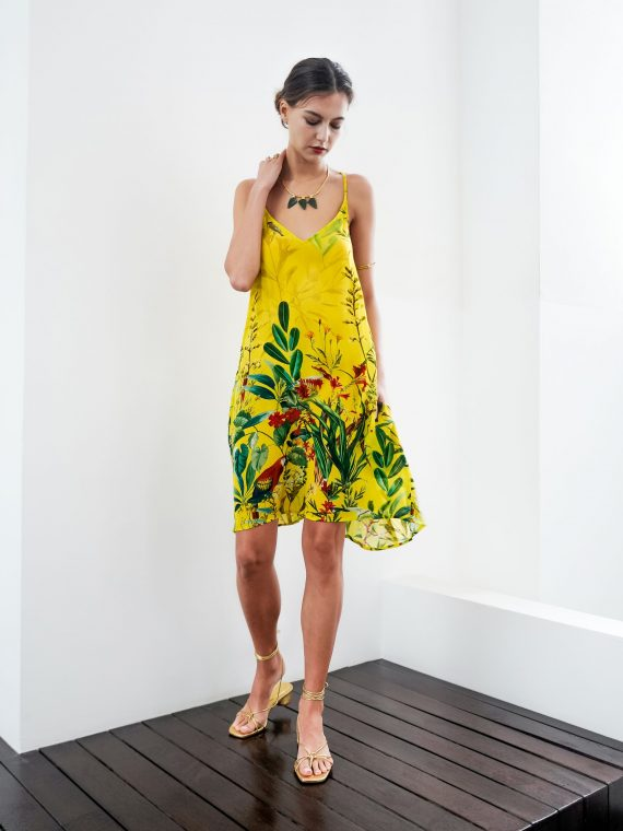 Simone Irani – Tia, T-Back Mini Dress_ Birds of Paradise Yellow 1