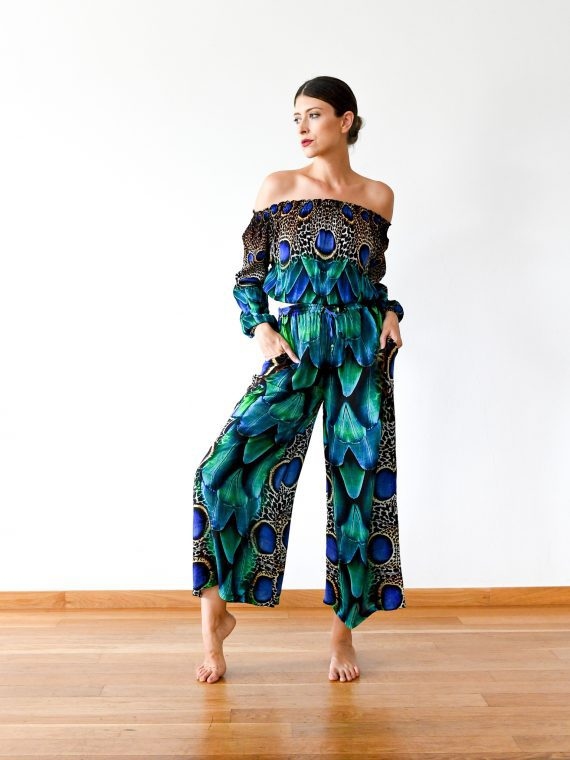 Simone Irani – Kavita, Off Shoulder Top with Wide Leg Pants Set_ Peacock Feather 1