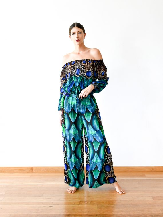Simone Irani – Kavita, Off Shoulder Top with Wide Leg Pants Set_ Peacock Feather 2
