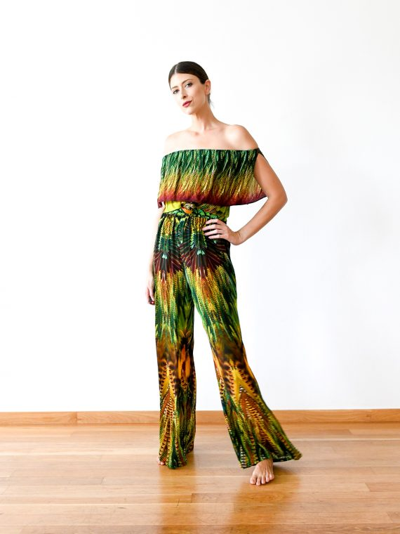Simone Irani – Kavita, Off Shoulder Top_ Yellow Green Feather 1