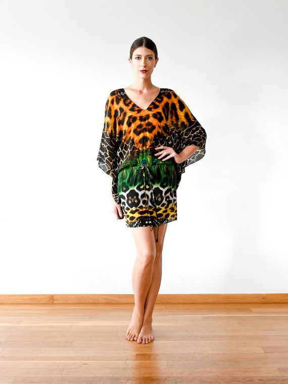 Simone Irani – Lotte, Drawstring Kaftan Dress_ Shades of Leopard 1