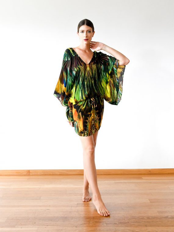 Simone Irani – Lotte, Drawstring Kaftan Dress_ Yellow Green Feather 1