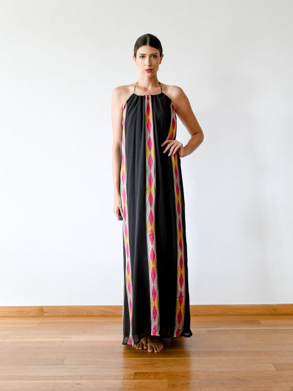 Simone Irani – Natalie, Sari Halter Neck Maxi Dress_ Pink Diamonds 1