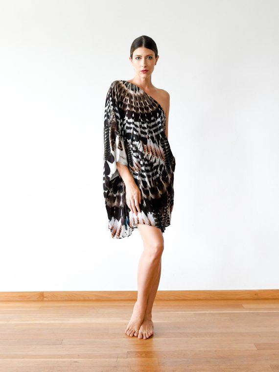 Simone Irani – Neo, One Shoulder Short Kaftan Dress_ Owl Feather 1