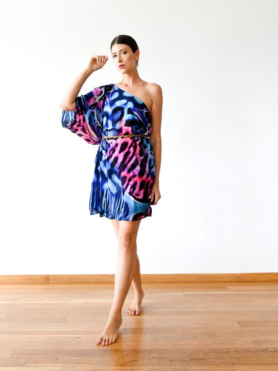 Simone Irani – Neo, One Shoulder Short Kaftan Dress_ Pink Leopard 1
