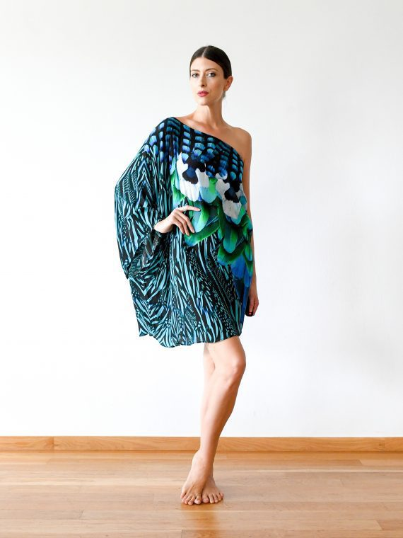 Simone Irani – Neo, One Shoulder Short Kaftan Dress_ Turquoise Blue Feather 1