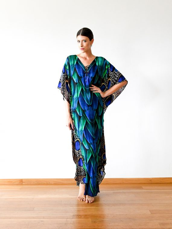 Simone Irani – Sanura, Long Belted Kaftan_ Peacock Feather 1