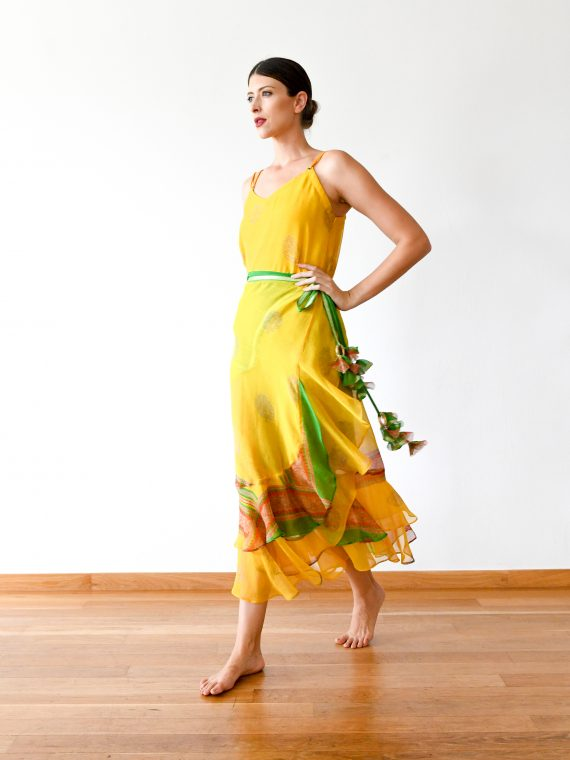 Simone Irani – Sonia Set, Sari Wrap Skirt and Rivet Top_ Sunflower Yellow 1