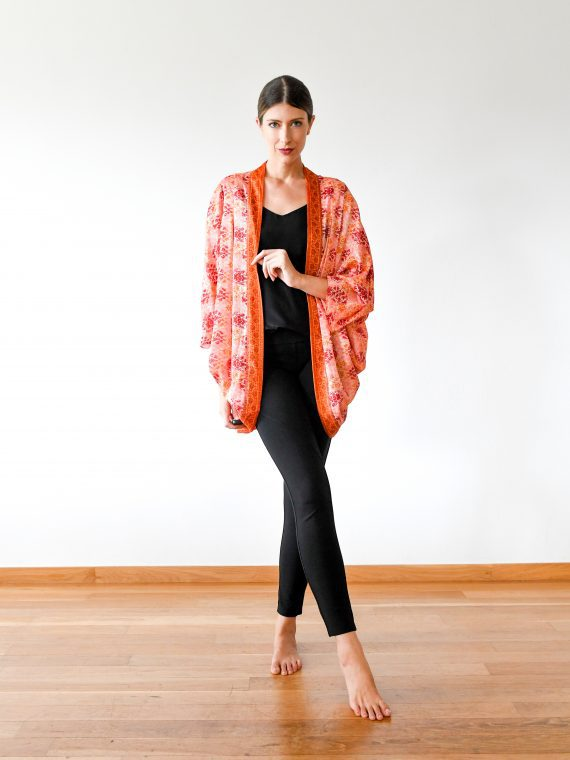 Simone Irani – Thea, Sari Cape_ Orange Tulip 1