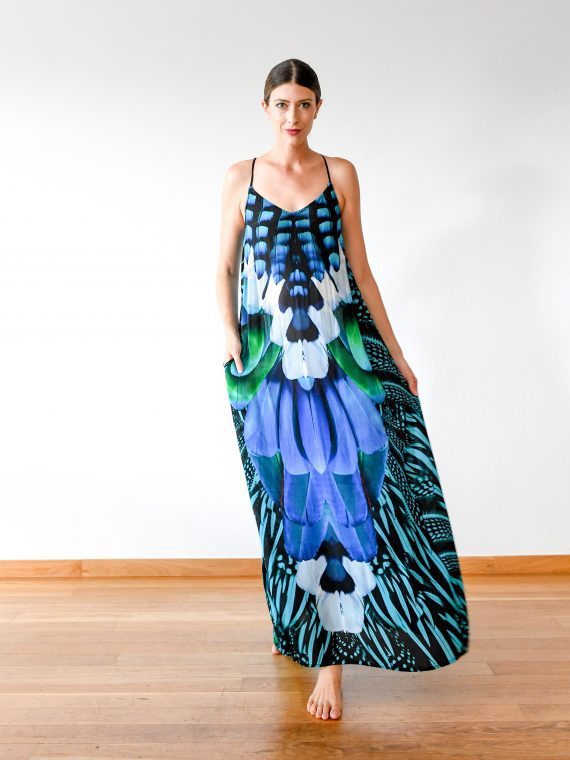 Simone Irani – Tia, T-Back Maxi Dress_ Turquoise Blue Feather 1