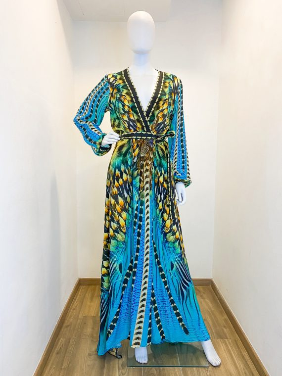 Simone Irani – Jolene, Belted Wrap Dress_ Turquoise Hawk 1
