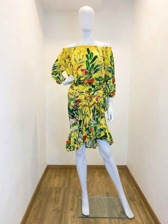 Simone Irani – Lamia, Gathered Crop Top with Wrap Skirt Set_ Birds of Paradise Yellow 1