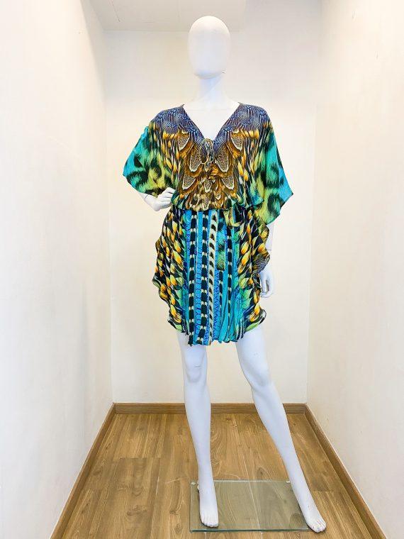 Simone Irani – Mala, Belted Kaftan_ Turquoise Hawk 1